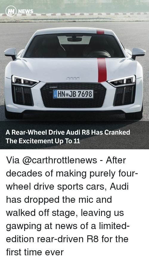 Drived: HN JB 7698  A Rear-Wheel Drive Audi R8 Has Cranked  The Excitement Up To 11 Via @carthrottlenews - After decades of making purely four-wheel drive sports cars, Audi has dropped the mic and walked off stage, leaving us gawping at news of a limited-edition rear-driven R8 for the first time ever