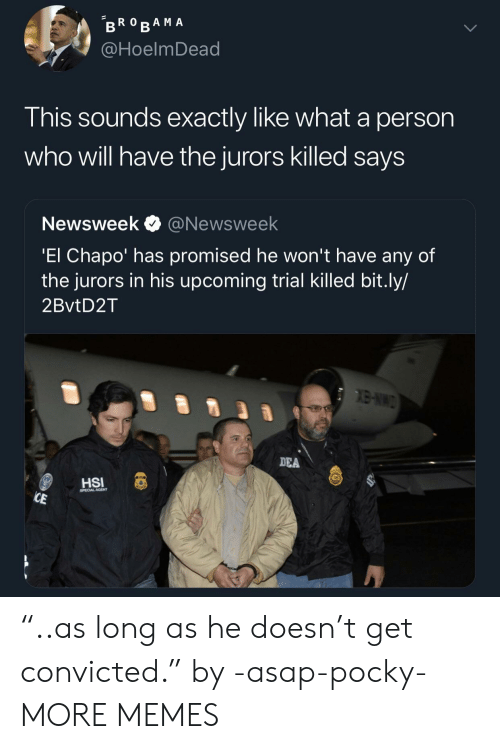 "newsweek: @HoelmDead  This sounds exactly like what a person  who will have the jurors killed saysS  Newsweek @Newsweek  El Chapo' has promised he won't have any of  the jurors in his upcoming trial Killed bit.ly/  2BvtD2T  DEA  CAL AGENT ""..as long as he doesn't get convicted."" by -asap-pocky- MORE MEMES"