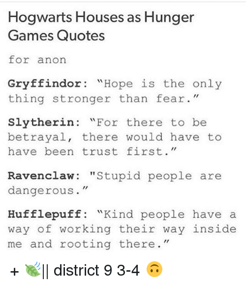 Hogwarts Houses As Hunger Games Quotes For Anon Gryffindor Hope Is