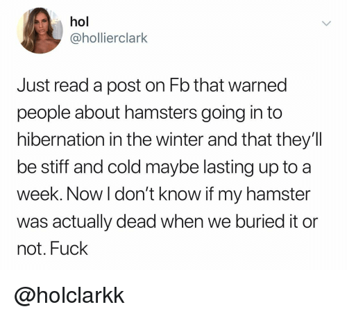 stiff: hol  @hollierclark  Just read a post on Fb that warned  people about hamsters going in to  hibernation in the winter and that they'lI  be stiff and cold maybe lasting up to a  week. Now l don't know if my hamster  was actually dead when we buried it or  not. Fuck @holclarkk