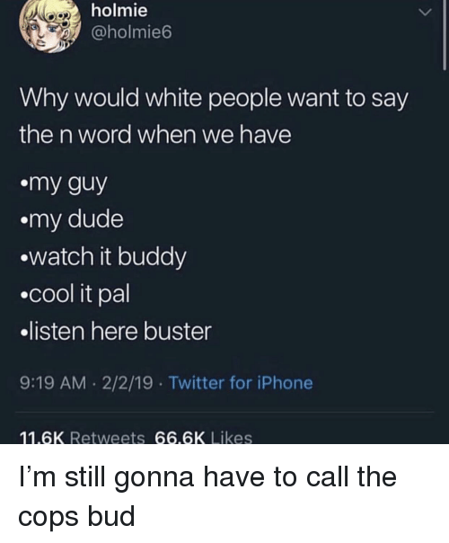 My Guy: holmie  @holmie6  Why would white people want to say  the n word when we have  my guy  .my dude  watch it buddy  .cool it pal  listen here buster  9:19 AM .2/2/19 Twitter for iPhone  11.6K Retweets 66.6K Likes I'm still gonna have to call the cops bud