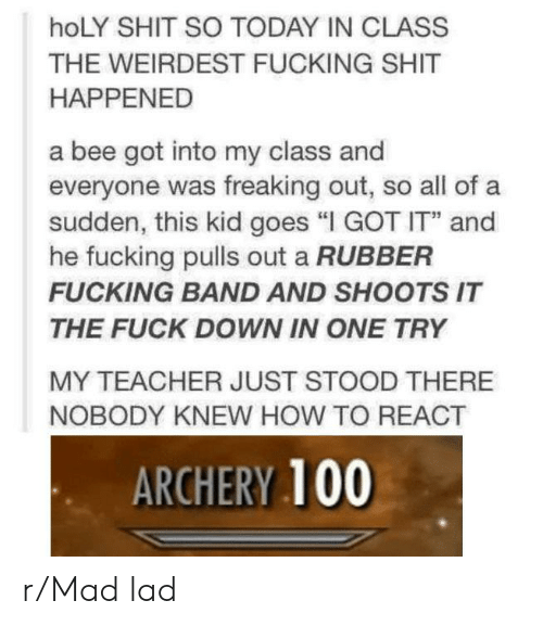"""Fucking, Shit, and Teacher: hoLY SHIT SO TODAY IN CLASS  THE WEIRDEST FUCKING SHIT  HAPPENED  a bee got into my class and  everyone was freaking out, so all of a  sudden, this kid goes """"I GOT IT"""" and  he fucking pulls out a RUBBER  FUCKING BAND AND SHOOTS IT  THE FUCK DOWN IN ONE TRY  MY TEACHER JUST STOOD THERE  NOBODY KNEW HOW TO REACT  ARCHERY 100 r/Mad lad"""