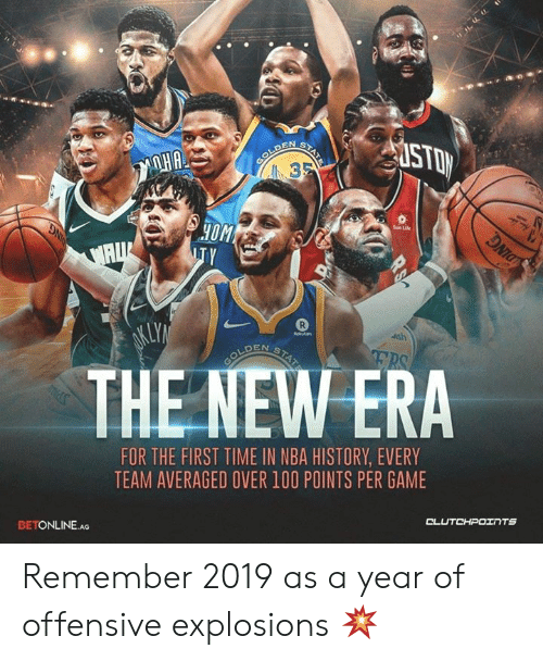 Life, Nba, and Game: HOM  Sun Life  THE NEW ERA  FOR THE FIRST TIME IN NBA HISTORY, EVERY  TEAM AVERAGED OVER 100 POINTS PER GAME  CL  BETONLINE AG Remember 2019 as a year of offensive explosions 💥