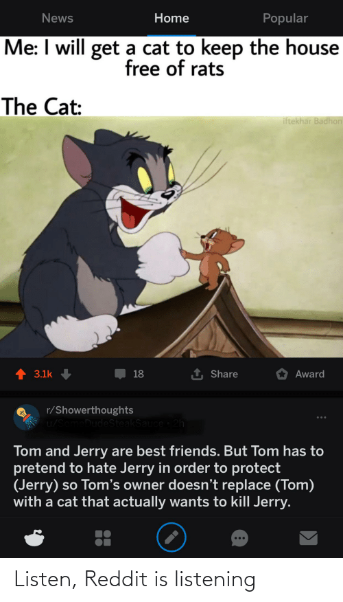 Toms: Home  News  Popular  Me: I will get a cat to keep the house  free of rats  The Cat:  iftekhar Badhon  1 Share  3.1k  18  Award  r/Showerthoughts  u/SomeDudeSteakSauce 2h  ...  Tom and Jerry are best friends. But Tom has to  pretend to hate Jerry in order to protect  (Jerry) so Tom's owner doesn't replace (Tom)  with a cat that actually wants to kill Jerry. Listen, Reddit is listening