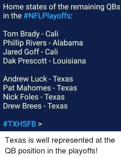 Andrew Luck, Tom Brady, and Alabama: Home states of the remaining QBs  in the #NFLPlayoffs:  Tom Brady - Cali  Phillip Rivers - Alabama  Jared Goff Cali  Dak Prescott - Louisiana  Andrew Luck Texas  Pat Mahomes - Texas  Nick Foles - Texas  Drew Brees Texas  #TXHSFB > Texas is well represented at the QB position in the playoffs!