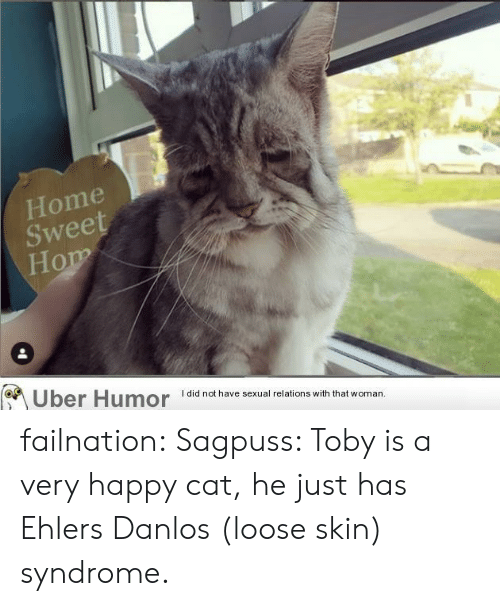 very happy: Home  Sweet  Hom  Uber Humor  I did not have sexual relations with that woman. failnation:  Sagpuss: Toby is a very happy cat, he just has Ehlers Danlos (loose skin) syndrome.