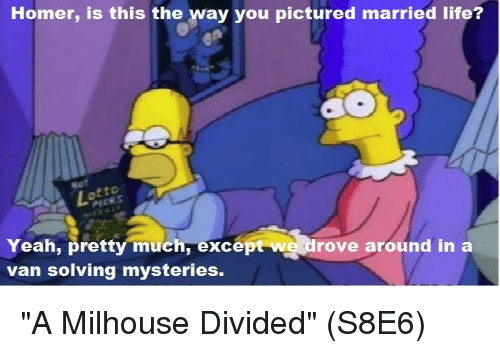 """Married Life: Homer, is this the way you pictured married life?  Yeah, pretty much, excep  rove around in a  van solving mysteries. """"A Milhouse Divided""""  (S8E6)"""