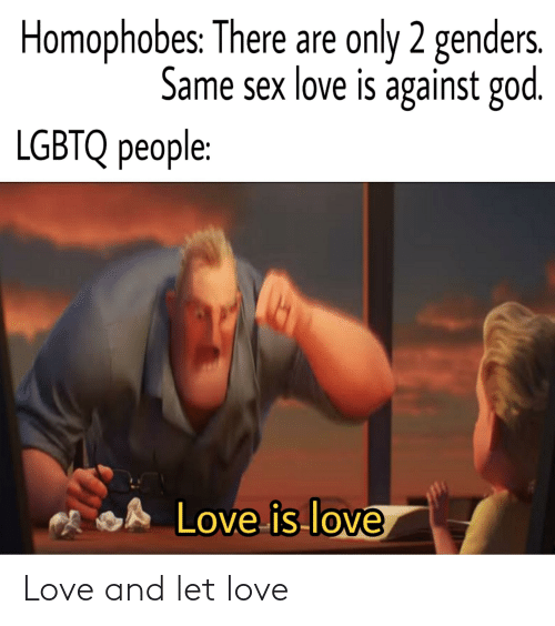 Only 2 Genders: Homophobes: There are only 2 genders.  Same sex love is against god.  LGBTQ people:  SA Love is love Love and let love