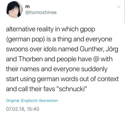 "Pop, Reality, and German: @homoshinee  alternative reality in which gpop  (german pop) is a thing and everyone  swoons over idols named Gunther, Jörç  and Thorben and people have @ with  their names and everyone suddenly  start using german words out of context  and call their favs ""schnucki""  Original (Englisch) übersetzen  07.02.18, 15:40"