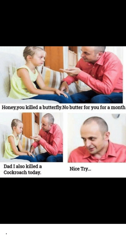 Dad, Butterfly, and Today: Honey,you killed a butterfly.No butter for you for a month  Dad I also killed a  Nice Try...  Cockroach today. .