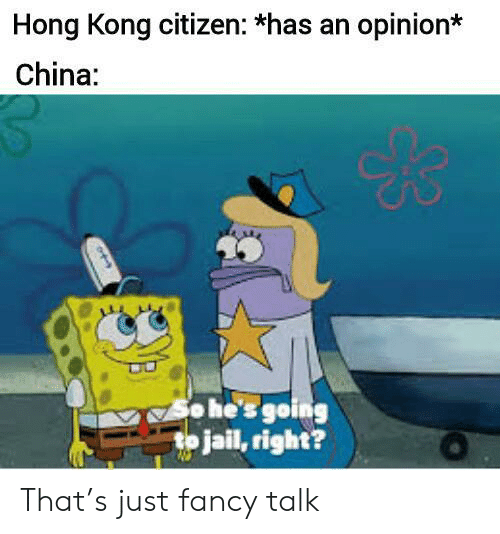 citizen: Hong Kong citizen: *has an opinion*  China:  o he's going  to jail, right? That's just fancy talk