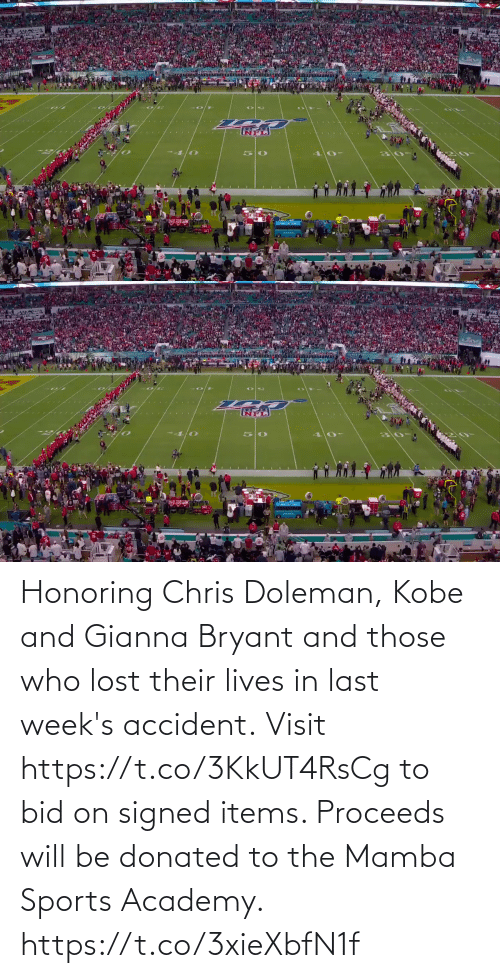 Chris: Honoring Chris Doleman, Kobe and Gianna Bryant and those who lost their lives in last week's accident.  Visit https://t.co/3KkUT4RsCg to bid on signed items. Proceeds will be donated to the Mamba Sports Academy. https://t.co/3xieXbfN1f