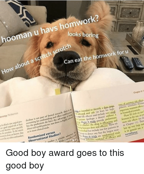 Cher: hooman u havs homwork?  looks borin  How about a scritch scrotch  Can eat the homwork for u  Chaper T  atee of coremon sille rdo  accwining for confounding and e madloctSn in  lybt the  the oen about real workd  i  loan for  y ik feces) and include very pmuall  putienes, nos thone as highly sla  treatmcet effe a  i are  as in most clinical vials  r  pakos (pthups a dozen) without a in  Phase Il trials an no  r the drug is efficacious and ferenos in the rate, or ew  Randomized versus  Observational Studies?  btwoen done and cthcacy  tinow patienn in in Cher ). Ten  any bat the largest treat low up very large mun  as are randomized trias is in geocral ox, a  tie iden of cthcasy and survelance. Good boy award goes to this good boy