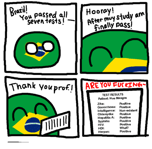 Hepatitis: Hooray!  After mvy stvdy am  faZl  You pa$sed all  seven tests! -Aftermuy S  finally passl  Thank youproflARE YOU FUrT6  TEST RESULTS  Patient: Hue Mangos  Zika:  Gonorrhoea: Positive  Intelligence: Non-existent  Chlamydia: Positive  Hepatitis A: Positive  Syphilis:  HIV  HDI:  Herpes  Positive  Positive  Positive  What?  Positive