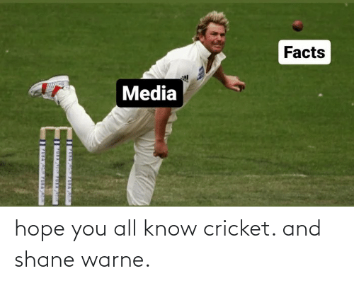 Shane: hope you all know cricket. and shane warne.