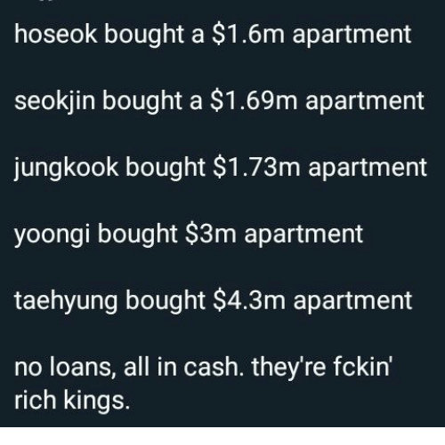 kings: hoseok bought a $1.6m apartment  seokjin bought a $1.69m apartment  jungkook bought $1.73m apartment  yoongi bought $3m apartment  taehyung bought $4.3m apartment  no loans, all in cash. they're fckin'  rich kings.
