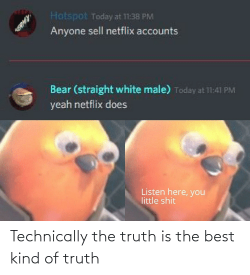 Accounts: Hotspot Today at 11:38 PM  Anyone sell netflix accounts  Bear (straight white male) Today at 11:41 PM  yeah netflix does  Listen here, you  little shit Technically the truth is the best kind of truth
