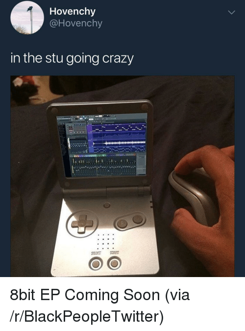 8bit: Hovenchy  @Hovenchy  in the stu going crazy <p>8bit EP Coming Soon (via /r/BlackPeopleTwitter)</p>