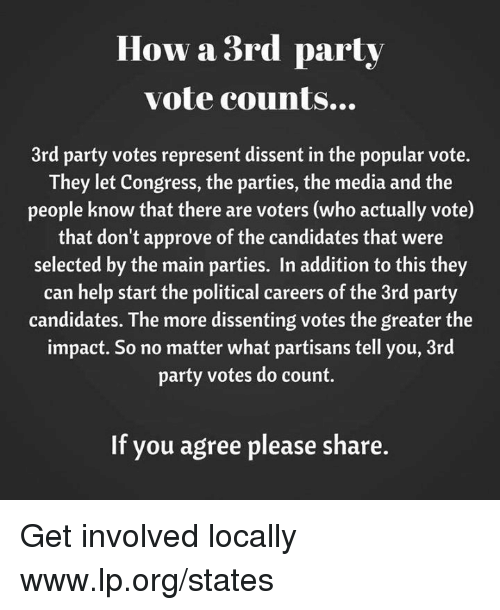 Memes, Party, and Help: How a 3rd party  vote counts...  3rd party votes represent dissent in the popular vote.  They let Congress, the parties, the media and the  people know that there are voters (who actually vote)  that don't approve of the candidates that were  selected by the main parties. In addition to this they  can help start the political careers of the 3rd party  candidates. The more dissenting votes the greater the  impact. So no matter what partisans tell you, 3rd  party votes do count.  If you agree please share. Get involved locally www.lp.org/states