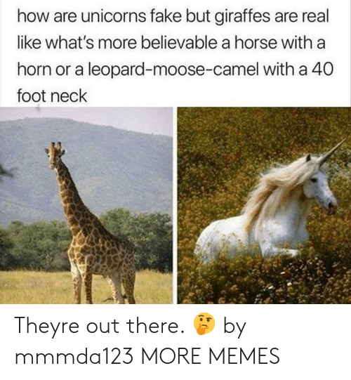 Believable: how are unicorns fake but giraffes are real  like what's more believable a horse with a  horn or a leopard-moose-camel with a 40  foot neck Theyre out there. 🤔 by mmmda123 MORE MEMES