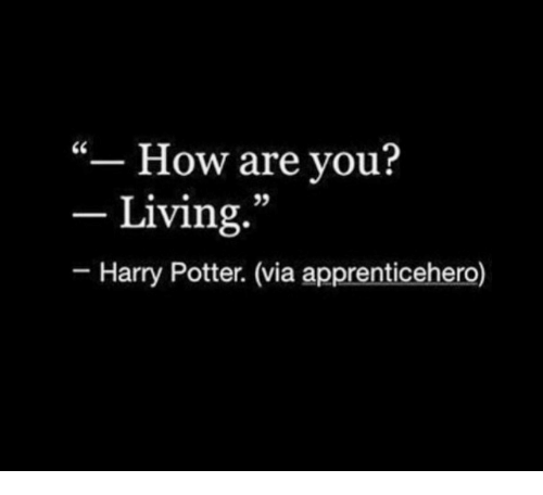 "Harry Potter, Living, and How: ""- How are you?  - Living.  95  Harry Potter. (via apprenticehero)"
