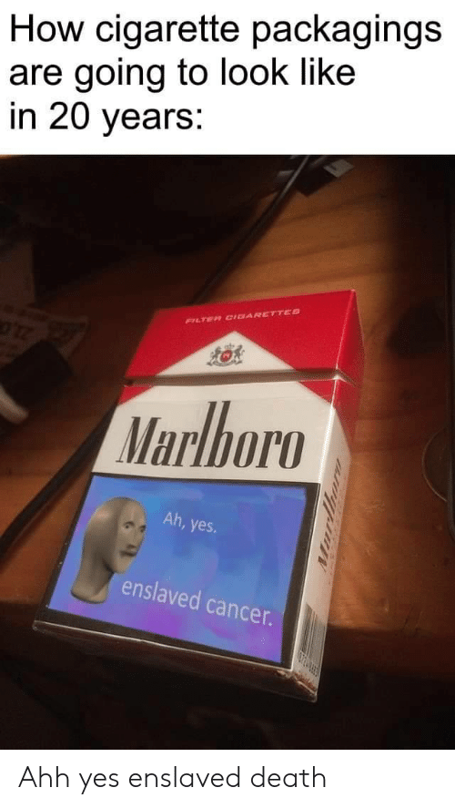 ahh: How cigarette packagings  are going to look like  in 20 years:  FILTER CIDARETTES  Marlboro  Ah, yes  enslaved cancer.  urthor Ahh yes enslaved death