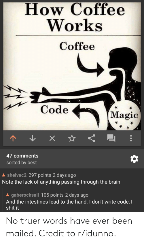 Shit, Best, and Brain: How Coffee  Works  Coffee  Code  (Magic  47 comments  sorted by best  shelvac2 297 points 2 days ago  Note the lack of anything passing through the brain  A gaberocksall 105 points 2 days ago  And the intestines lead to the hand. I don't write code, I  shit it No truer words have ever been mailed. Credit to r/idunno.