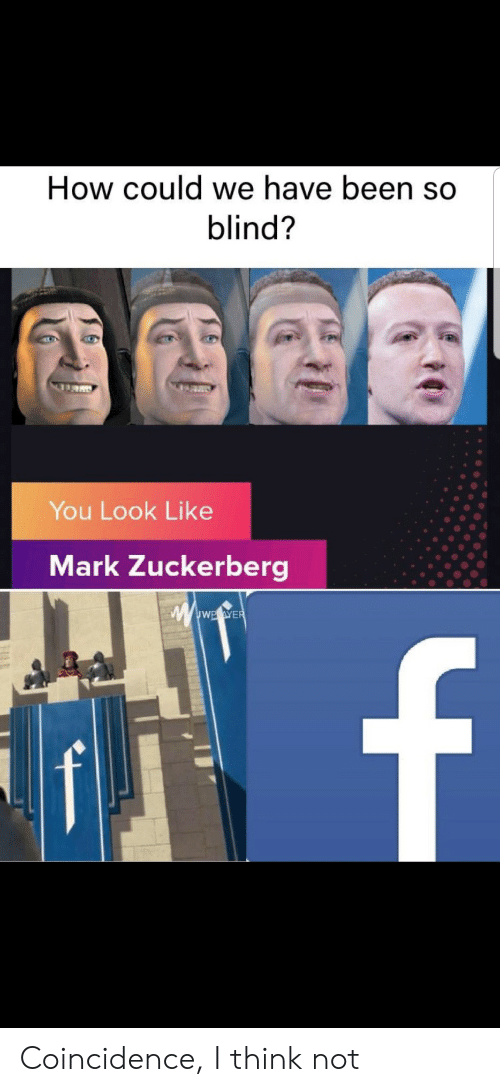 Been So: How could we have been so  blind?  You Look Like  Mark Zuckerberg  wwwE.eWER  f Coincidence, I think not