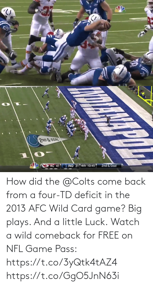 card: How did the @Colts come back from a four-TD deficit in the 2013 AFC Wild Card game?  Big plays. And a little Luck.  Watch a wild comeback for FREE on NFL Game Pass: https://t.co/3yQtk4tAZ4 https://t.co/GgO5JnN63i