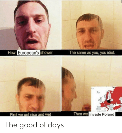 you idiot: How European'sshower  The same as you, you idiot.  Then we Invade Poland  First we get nice and wet The good ol days