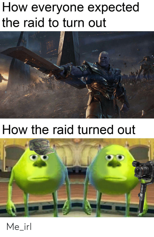 Irl, Me IRL, and How: How everyone expected  the raid to turn out  How the raid turned out Me_irl