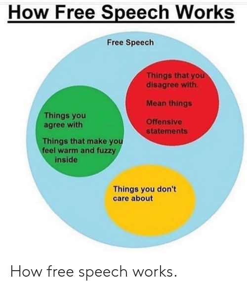 Free, Mean, and How: How Free Speech Works  Free Speech  Things that you  disagree with.  Mean things  Offensive  Things you  agree with  statements  Things that make you  feel warm and fuzzy  inside  Things you don't  care about How free speech works.