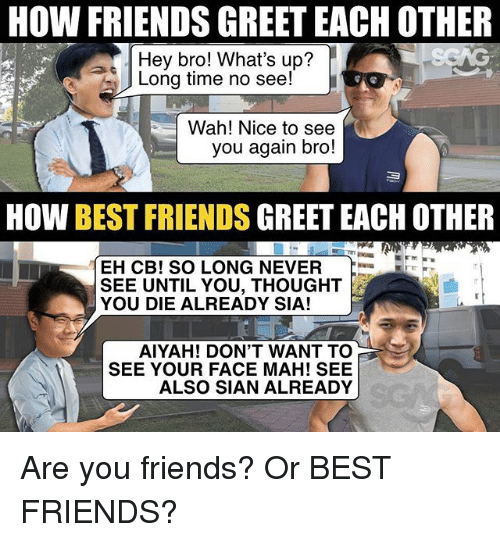 long time no see: HOW FRIENDS GREET EACH OTHER  Hey bro! What's up?  Long time no see!  Wah! Nice to see  you again bro!  HOW BEST FRIENDS GREET EACH OTHER  EH CB! SO LONG NEVER  SEE UNTIL YOU, THOUGHT  YOU DIE ALREADY SIA!  AIYAH! DON'T WANT TO  SEE YOUR FACE MAH! SEE  ALSO SIAN ALREADY Are you friends? Or BEST FRIENDS?