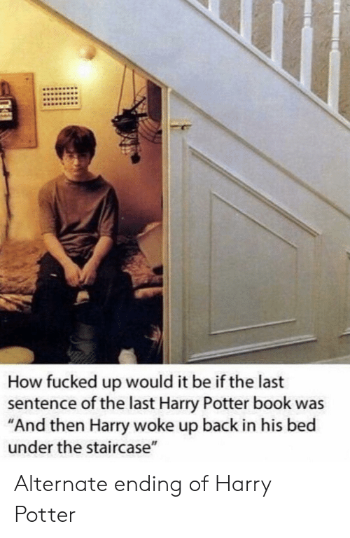 """Harry Potter, Book, and Back: How fucked up would it be if the last  sentence of the last Harry Potter book was  """"And then Harry woke up back in his bed  under the staircase"""" Alternate ending of Harry Potter"""
