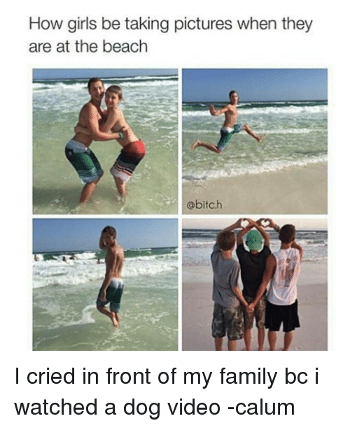 Memes, Beach, and 🤖: How girls be taking pictures when they  are at the beach  @bitch I cried in front of my family bc i watched a dog video -calum