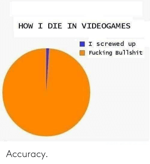 screwed: HOW I DIE IN VIDEOGAMES  I screwed up  Fucking Bullshit Accuracy.