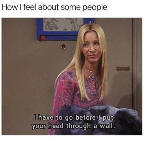 Head, Relationships, and How: How I feel about some people  l have to go before l put  your head through a wall