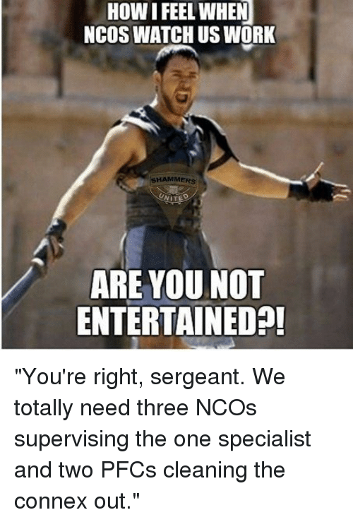 """Sergeant: HOW I FEEL WHEN  NCOS WATCH US WORK  SHAMMERS  ARE YOU NOT  ENTERTAINEDA! """"You're right, sergeant. We totally need three NCOs supervising the one specialist and two PFCs cleaning the connex out."""""""