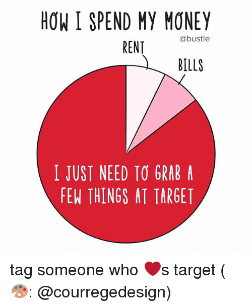 Memes, Money, and Target: HOW I SPEND MY MONEY  @bustle  RENT  BILLS  I JUST NEED TO GRAB A  FEW THINGS AT TARGET tag someone who ❤️s target (🎨: @courregedesign)