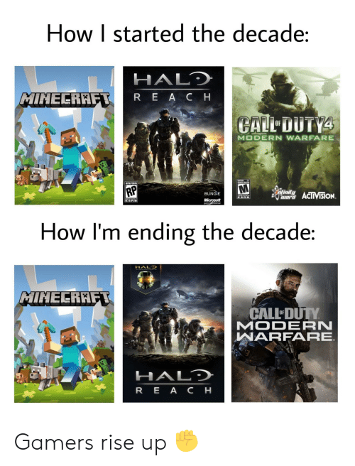 gamers: How I started the decade:  HALD  MINECRAFT  REACH  CALL DUTY4  OF  MODERN WARFARE  UMES ADTES  RP  infinity  BUNGIE  war ACIIVISION  ESRB  Microsoft  gametudios  ESRB  How I'm ending the decade:  HALO  MINECRAFT  CALL DUTY  MODERN  WARFARE  HALD  REA CH Gamers rise up ✊
