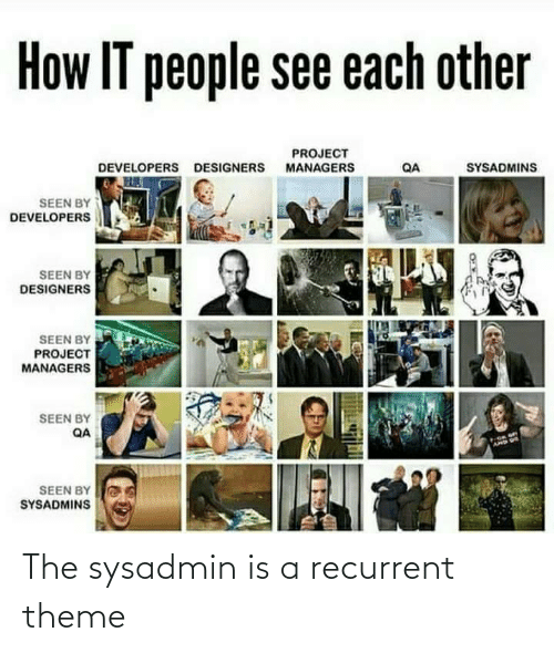 theme: How IT people see each other  PROJECT  MANAGERS  SYSADMINS  DEVELOPERS DESIGNERS  QA  SEEN BY  DEVELOPERS  SEEN BY  DESIGNERS  SEEN BY  PROJECT  MANAGERS  SEEN BY  QA  AMD US  SEEN BY  SYSADMINS The sysadmin is a recurrent theme