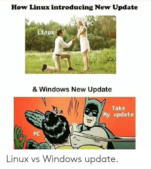 Linux: How Linux introducing New Update  PC  Linux  & Windows New Update  Take  My update  PC Linux vs Windows update.