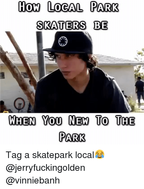 skaters: How LOGAL PARK  SKATERS BE  WHEN Yo0 NEW To THE  PARK Tag a skatepark local😂 @jerryfuckingolden @vinniebanh