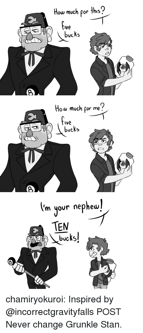 the-gift-shop: How much por ths  Ive  bucks   How much por me?  fve  bucks   m your nephew  TEM chamiryokuroi: Inspired by @incorrectgravityfalls POST Never change Grunkle Stan.