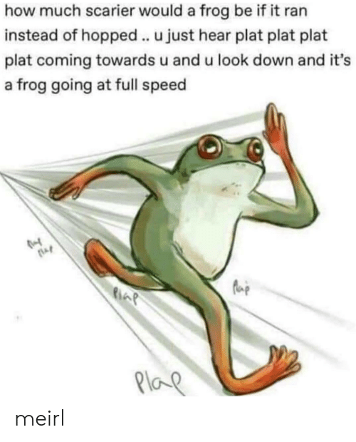 MeIRL, How, and Speed: how much scarier would a frog be if it ran  instead of hopped.. u just hear plat plat plat  plat coming towards u and u look down and it's  a frog going at full speed  Plo meirl