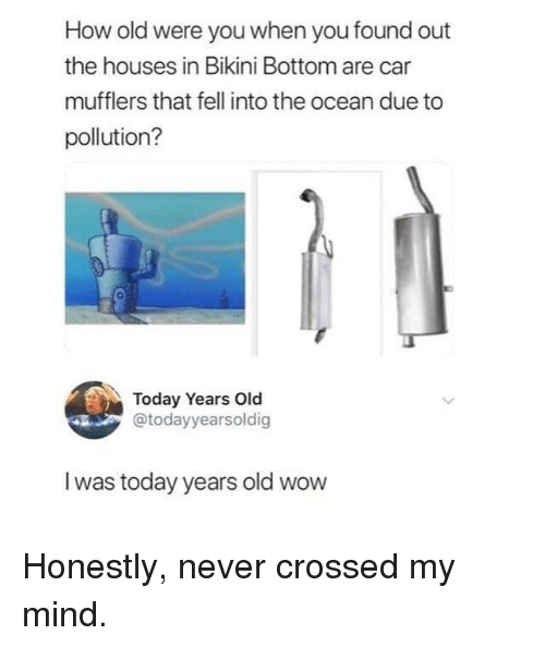 Wow, Bikini Bottom, and Bikini: How old were you when you found out  the houses in Bikini Bottom are car  mufflers that fell into the ocean due to  pollution?  0  Today Years Old  @todayyearsoldig  I was today years old wow Honestly, never crossed my mind.