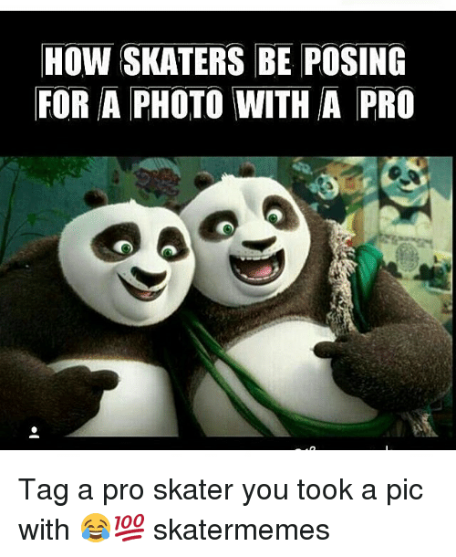 skaters: How SKATERS BE POSING  FOR A PHOTO WITH A PRO Tag a pro skater you took a pic with 😂💯 skatermemes