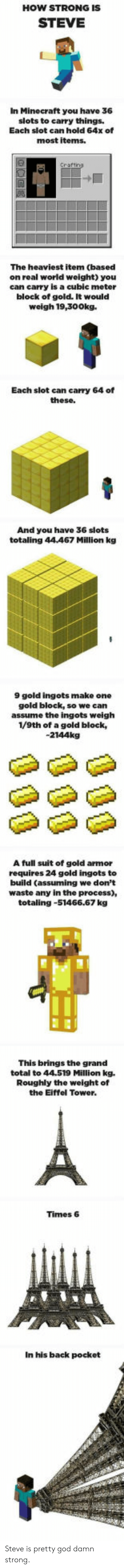 God, Minecraft, and Eiffel Tower: HOW STRONG IS  STEVE  In Minecraft you have 36  slots to carry things.  Each slot can hold 64x of  most iterns.  The heaviest item (based  on real world weight) you  can carry is a cubic meter  block of gold. It would  weigh 19,300kg.  Each slot can carry 64 of  And you have 36 slots  totaling 44467 Million kg  9 gold ingots make one  gold block, so we can  assume the ingots weigh  1/9th of a gold block,  -2144kg  A full suit of gold armor  requires 24 gold ingots to  build (assuming we don't  waste any in the process),  totaling-51466.67 kg  This brings the grand  total to 44.519 Million kg.  Roughly the weight of  the Eiffel Tower.  Times 6  In his back pocket Steve is pretty god damn strong.