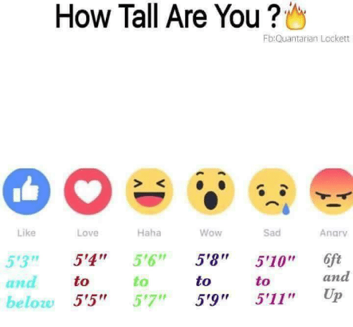 """anas: How Tall Are You ?  Fb:Quantarian Lockett  S K  Like  Love  Haha  Wow  Sad  Anarv  53 5'4"""" 5'6"""" 5'8 510"""" 6ft  to  to  to  to  and  ana  beloze 5'5"""" 57"""" 5'9"""" 5'11"""" Up"""