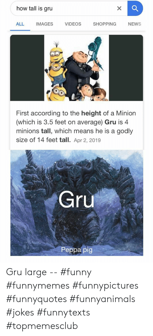 Gru: how tall is gru  X  VIDEOS  SHOPPING  ALL  IMAGES  NEWS  First according to the height of a Minion  (which is 3.5 feet on average) Gru is 4  minions tall, which means he is a godly  size of 14 feet tall. Apr 2, 2019  Gru  Peppa pig Gru large -- #funny #funnymemes #funnypictures #funnyquotes #funnyanimals #jokes #funnytexts #topmemesclub